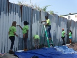 Painting a fence at South Street Farm, Somerville