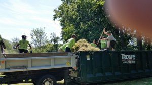 The field team, Steven, and I moving the hay into the dumpster.